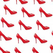 Red High-heeled Shoe Seamless Background