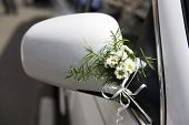 Decoration Of Wedding  Limousine. Bouquet  Camomile.