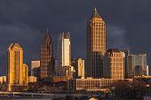 Atlanta Georgia skyline with thunderstorm sky