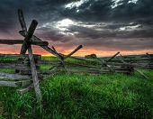 Split-rail Fence And Sunrise