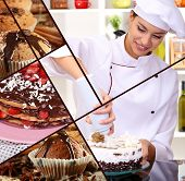 Collage of confectionery theme consisting of delicious pastries and cook