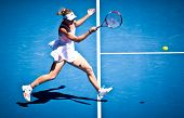 MELBOURNE - JANUARY 23: Caroline Wozniacki of Denmark in her fourth round win over Anastasija Sevast