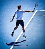 MELBOURNE - JANUARY 25: Roger Federer of Switzerland in his quarter final win over Stanislas Wawrink