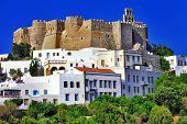 view of Monastery of st.John in Patmos island, Dodecanese, Greece. Unesco heritage site