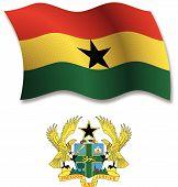 Ghana Textured Wavy Flag Vector