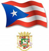 Puerto Rico Textured Wavy Flag Vector