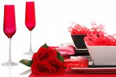 Isolated; Romantic Modern Black & White Table Setting ~ Red Champagne Flutes With Fresh Red Roses