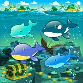 Seascape with treasure, galleon and fish. Vector cartoon illustration