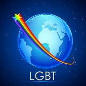 illustration of rainbow flag color stripe around Earth showing LGBT concept