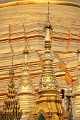 YANGON, MYANMAR - DEC 12, 2013 Golden pagoda elements of Shwedagon Paya