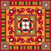 Russian traditional square ornament with flowers of Severodvinsk region