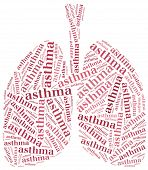 stock photo of pharyngitis  - Word cloud asthma related - JPG