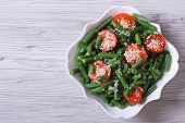 Salad Of Green Beans And Sesame Seeds Top View