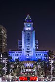 LOS ANGELES, CALIFORNIA - NOVEMBER 7, 2013: Los Angeles City Hall at night. The building was complet