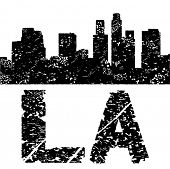 Grunge Los Angeles skyline with text vector illustration