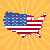 USA map flag on sunburst vector illustration