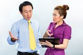 picture of argument  - Angry argument among colleagues in an Asian business office - JPG