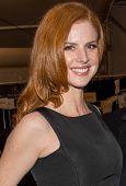 NEW YORK-FEB 10: Actress Sarah Rafferty poses backstage before the Dennis Basso fashion show during Mercedes-Benz Fashion Week Fall 2014 at Lincoln Center on February 10, 2014 in New York City.