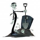 Funny scene in the cemetery. Cartoon and vector isolated illustration.