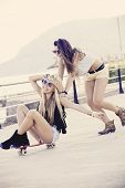 teens having fun with skateboard