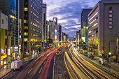 Hiroshima, Japan downtown at Aioi-dori Avenue.