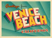 Vintage Touristic Greeting Card - Venice Beach, California - Vector EPS10. Grunge effects can be easily removed for a brand new, clean sign.