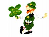 image of fourleaf  - editable eps vector format irish leprechaun holding fourleaf shamrock sign with happy st - JPG