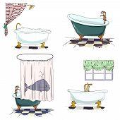 bathtubs cartoon style. Bathroom interior element. Vector