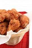 image of chicken wings  - basket of crispy fried chicken - JPG