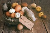 Assorted eggs in basket with Easter note card