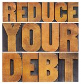 reduce your debt - financial concept - isolated text in vintage letterpress wood type