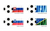 Soccer Ball With Slovakia, Somalia, Slovenia And Solomon Islands Flag