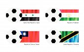 Soccer Ball With Syria, Tajikistan, Taiwan And Tanzania Flag