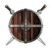 foto of berserk  - Two swords behind wooden round shield isolated - JPG