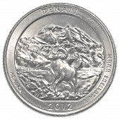 stock photo of denali national park  - American one quarter coin - JPG