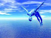 3D alien diver over blue ocean