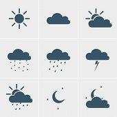 stock photo of meteoric rain  - Wheather icons  - JPG