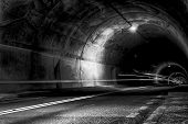 Tunnel At Night With Rays Of Light