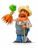 Gardener with carrot and shovel. Eps10 vector illustration. Isolated on white background