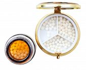 Compact Pill Box And Jar With Homeopathy Balls