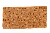 Close up whole grain crisp bread. Macro.