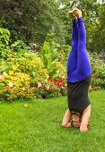 Yoga Headstand Outside In A Park