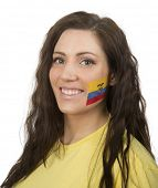 Young Girl with the Ecuadorian flag painted in her face