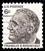 USA-CIRCA 1966: A postage stamp shows image portrait of Franklin D Roosevelt the 37th President of the United States of America, circa 1966.