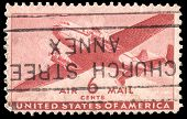 USA-CIRCA 1941: A 6 cent United States Airmail postage stamp shows image of a twin-engined transport