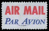 USA-CIRCA 1973: A United States Airmail postage sticker, showing red AIR MAIL with blue PAR AVION, denoting mail is for international airmail and not USA domestic airmail, circa 1973.