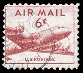 USA-CIRCA 1949: A 15 cent United States Airmail postage stamp shows image of DC-4 Skymaster transport plane, circa 1949.