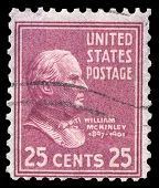 USA-CIRCA 1938: A postage stamp shows image portrait of William McKinley the 25th President of the U