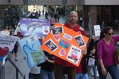 Activists in front of the consulate of Japan in Los Angeles to protest the dolphins slaughter in Tai