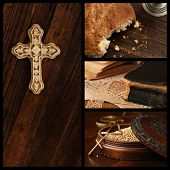 Cristian collage includes images of an ornamental cross on rustic wood, loaf of communion bread, well used vintage bible, and wooden box of mustard seeds (symbol of faith) with cross pendant.